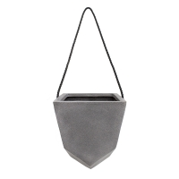 Grey geometrical hanging pot 8 x 8 x 10''