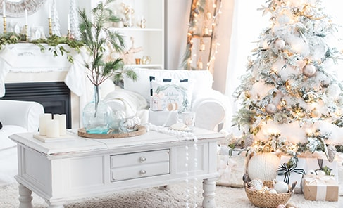 white christmas decor with fir branches