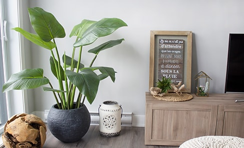 Artificial Curcuma Plant In Round Dark Grey Pot Neutral Home Decor