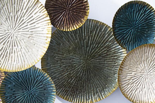 Décoration Murale En Métal Cercles Superposés 47 X 25 X 2
